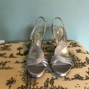 EUC Nina silver heels with rhinestones.